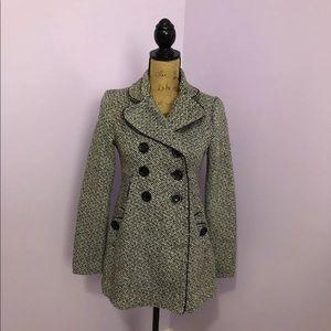 Black & White Tweed Coat Sz Small (c)